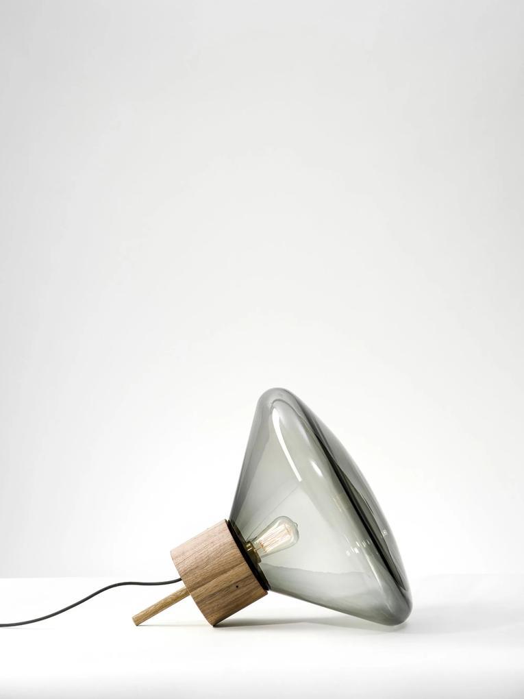 Muffins Wood I - Lampă de podea din lemn cu abajur din sticlă