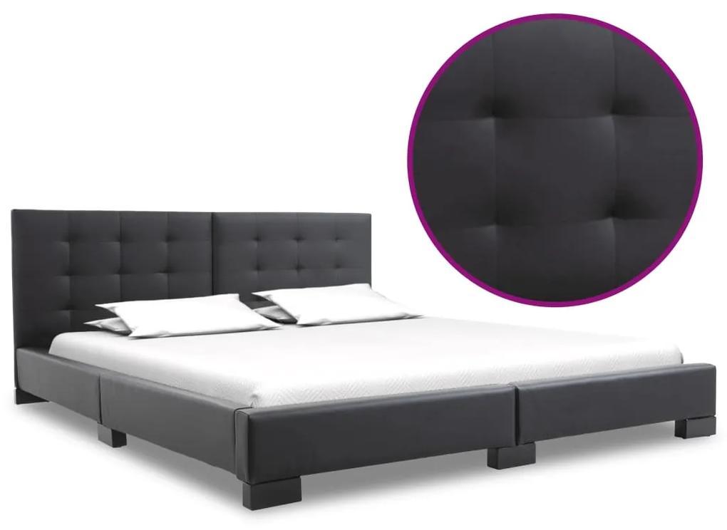 280628 vidaXL Cadru de pat, negru, 120 x 200 cm, piele artificială
