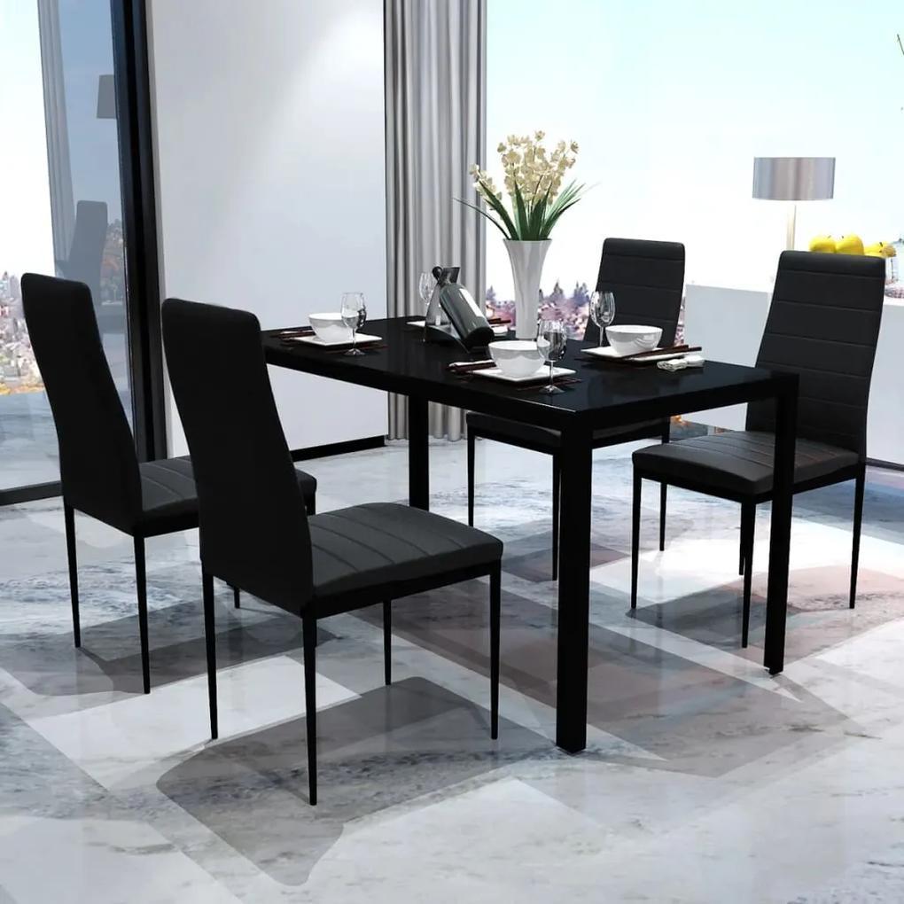 242986 vidaXL Set mobilier de bucătărie, cinci piese, negru