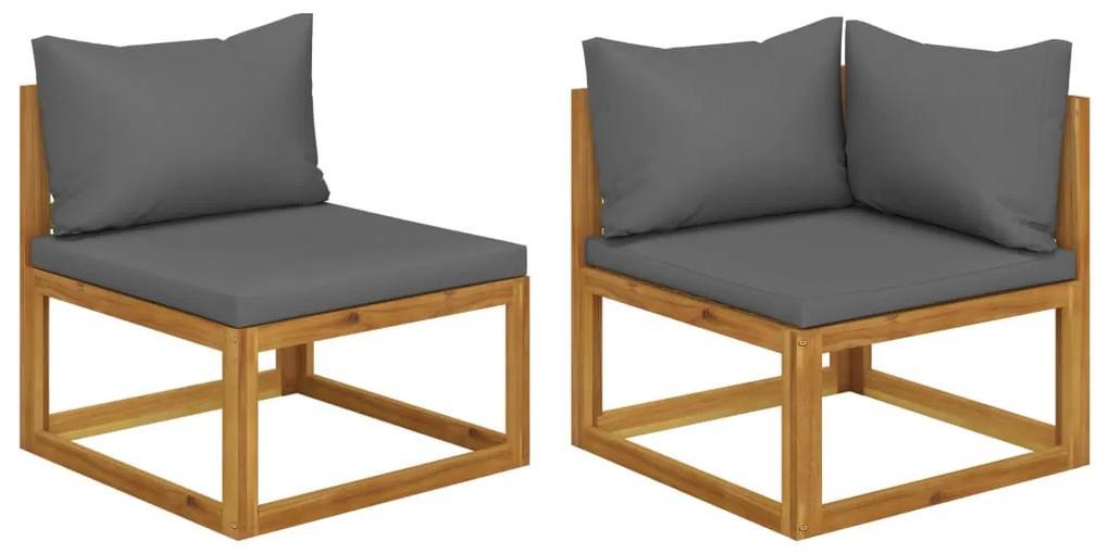 311856 vidaXL Set canapea 2 piese cu perne gri închis, lemn masiv de acacia