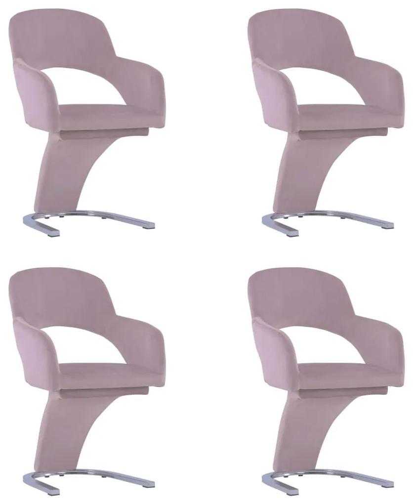 3056586 vidaXL Scaune de bucătărie, 4 buc., roz, catifea