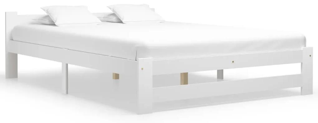 322002 vidaXL Cadru de pat, alb, 160 x 200 cm, lemn masiv de pin