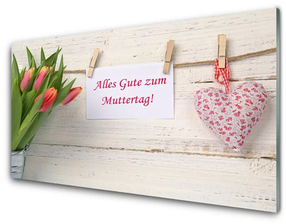 Tablou pe sticla Tulip Heart Art Verde Portocaliu Roșu Alb