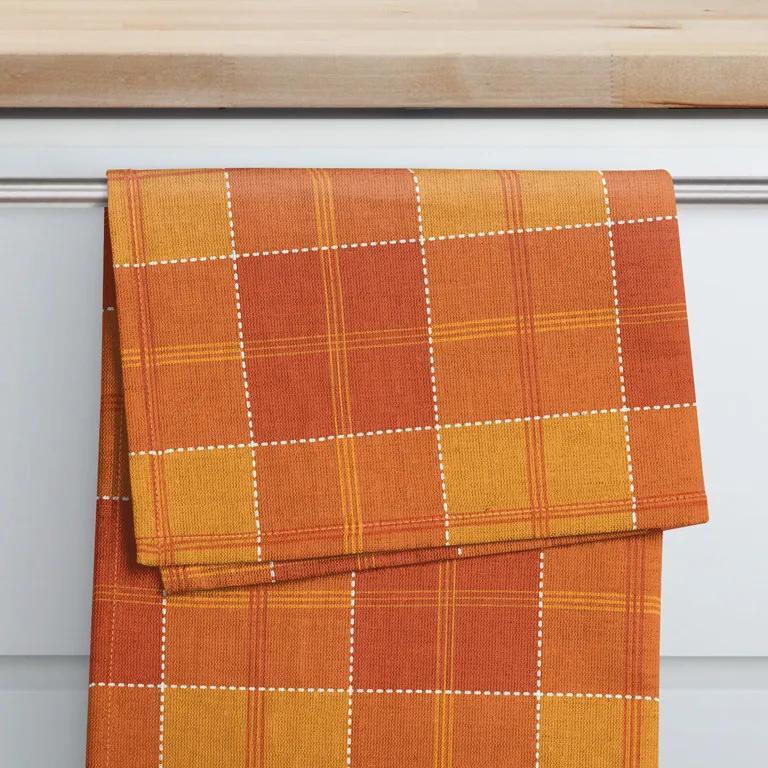 Goldea prosop de bucătărie din bumbac kanafas - model 080 carouri portocaliu 50 x 70 cm