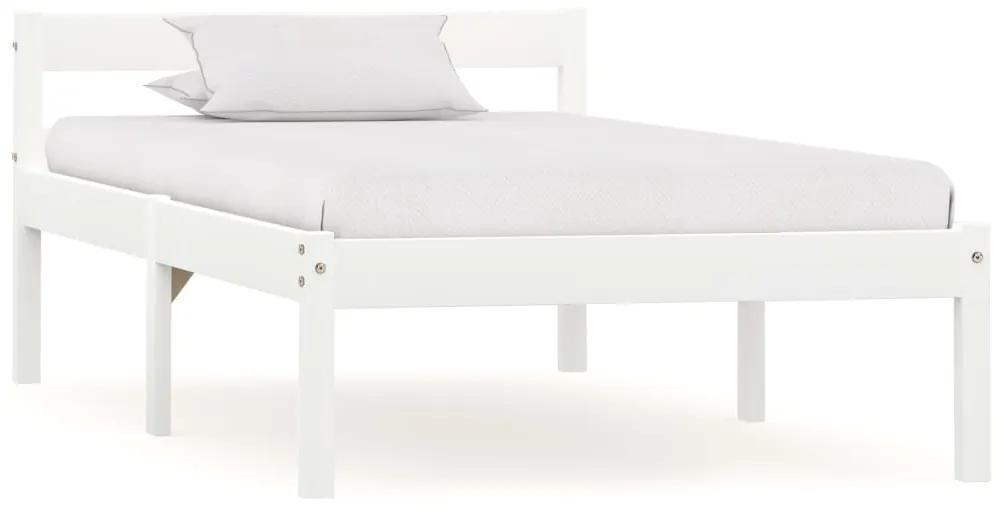 283184 vidaXL Cadru de pat, alb, 90 x 200 cm, lemn masiv de pin