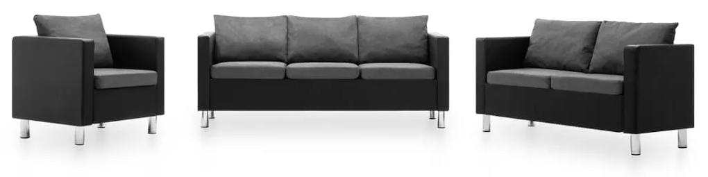 275506 vidaXL Canapele, 3 piese, negru și gri deschis, piele ecologică