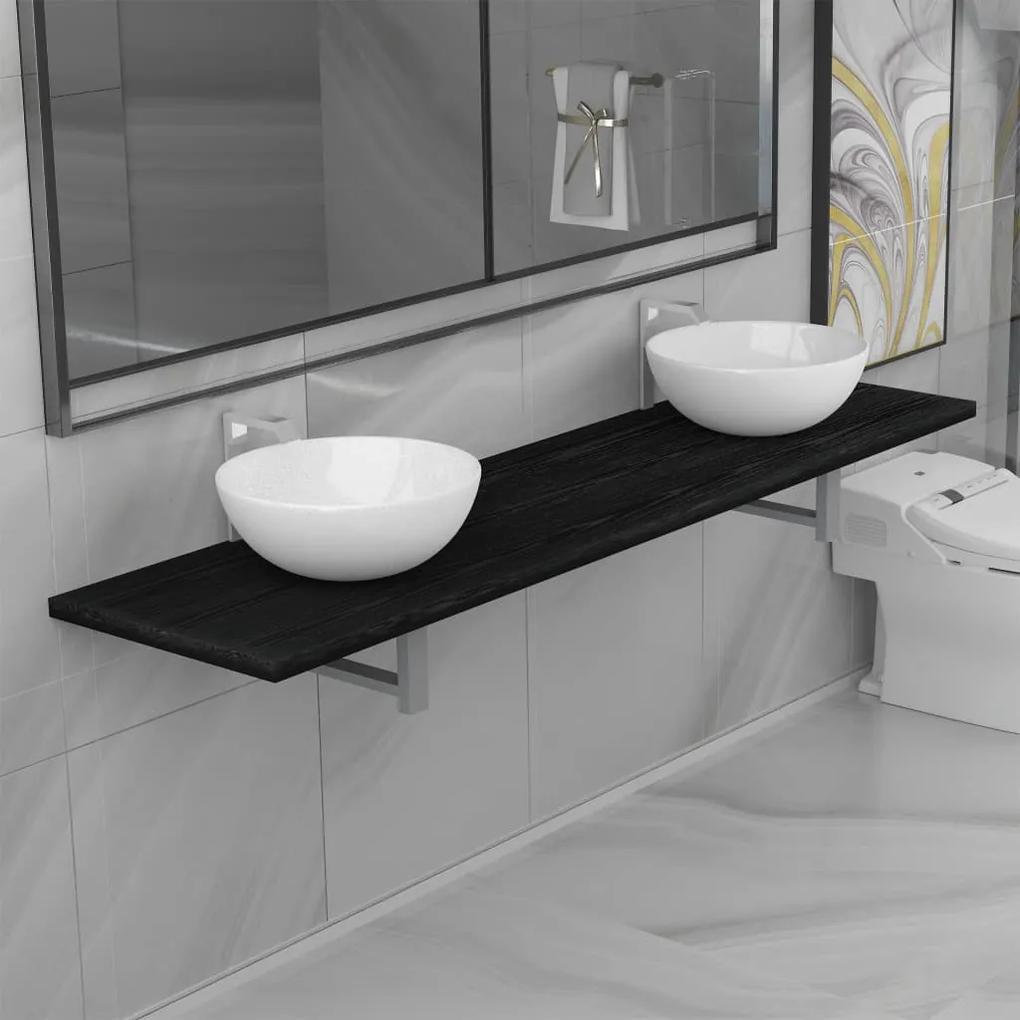 279395 vidaXL Set mobilier de baie din 3 piese, negru, ceramică