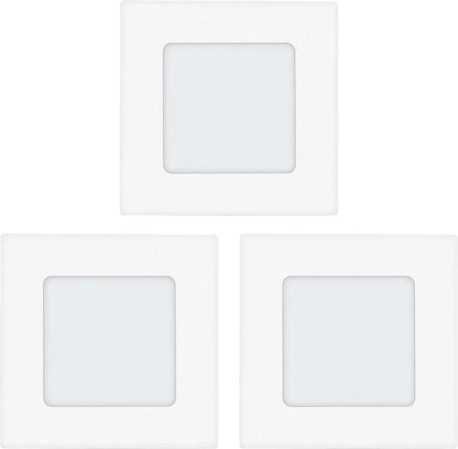 Set 3 spoturi incastrate FUEVA 1, EGLO, LED, 3x2.7W, 900 lm, lumina calda, metal, plastic, alb, 8.5 x 8.5 x 3 cm, A++