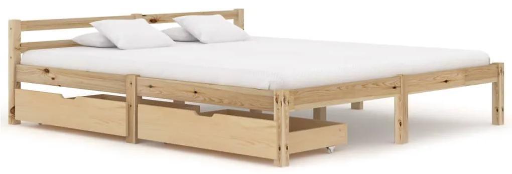 3060332 vidaXL Cadru de pat cu 2 sertare, 180x200 cm, lemn masiv de pin