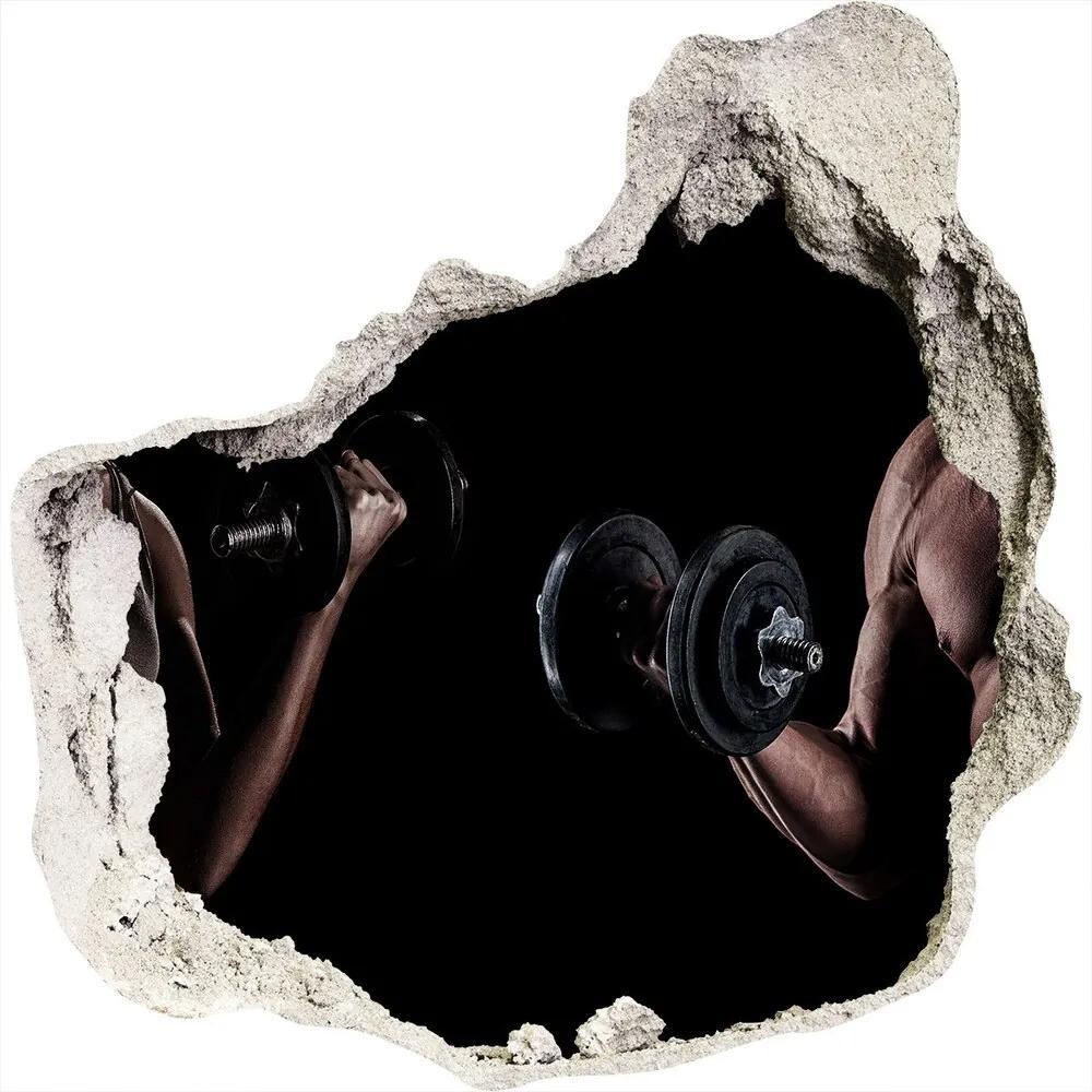 Fototapet un zid spart cu priveliște Clădire musculare