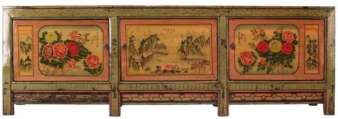 Bufet inferior verde din pin 284 cm Sideboard