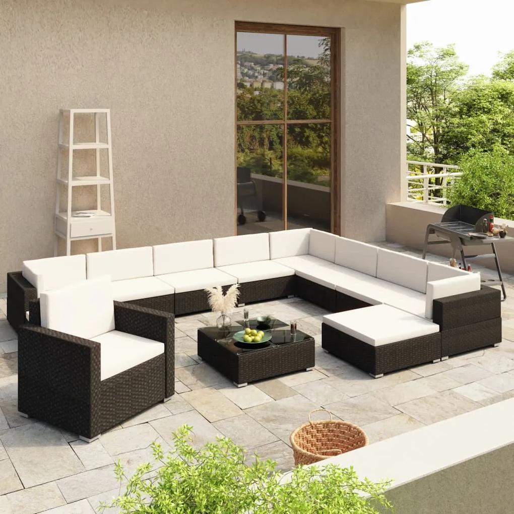 41263 vidaXL Set mobilier de grădină cu perne, 12 piese, negru, poliratan