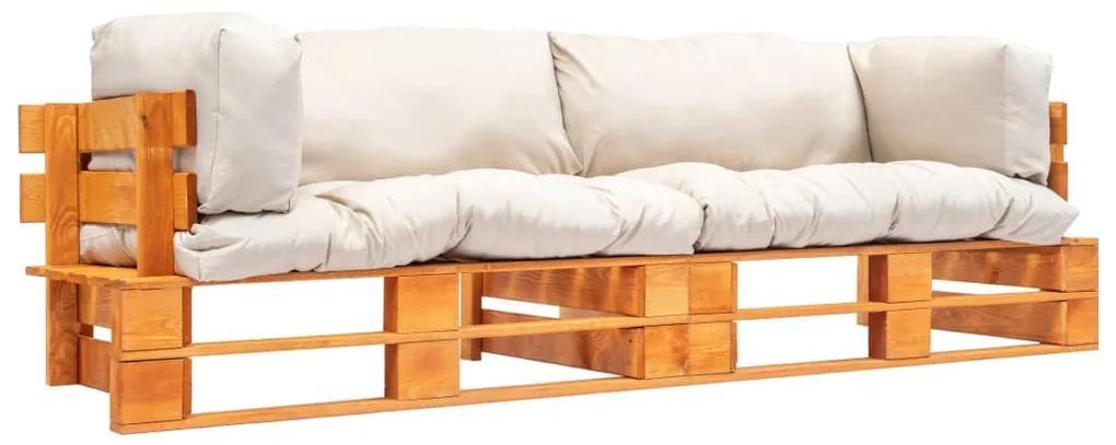 277450 vidaXL Set canapea de grădină paleți cu perne nisipii 2 piese lemn pin