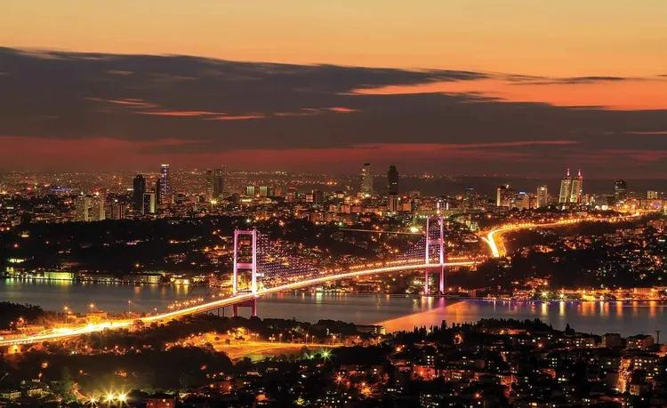 City Skyline Istanbul Bosphorus Fototapet, (208 x 146 cm)
