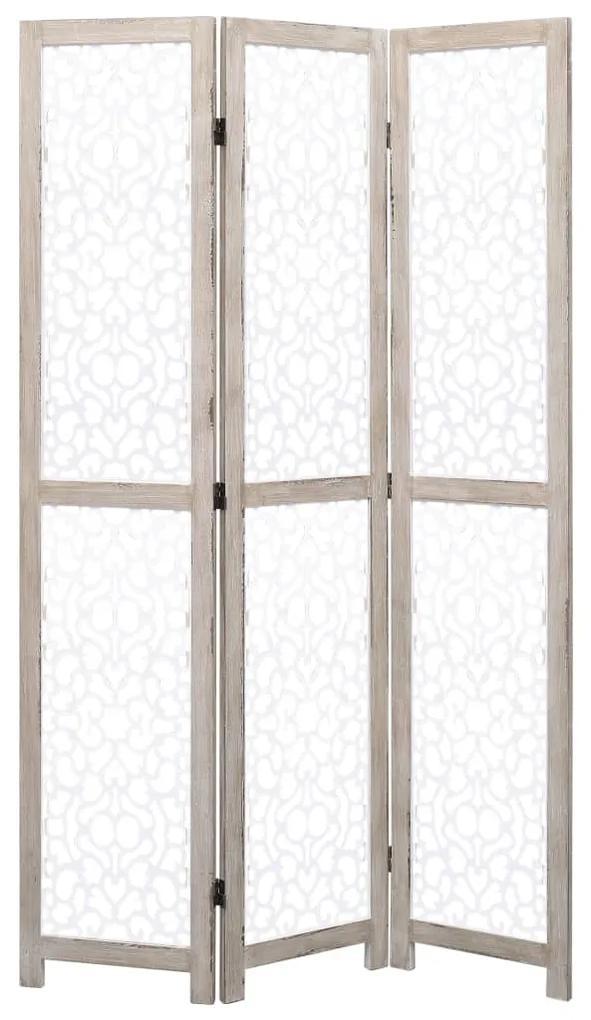 284195 vidaXL Paravan de cameră cu 3 panouri, alb, 105 x 165 cm, lemn masiv