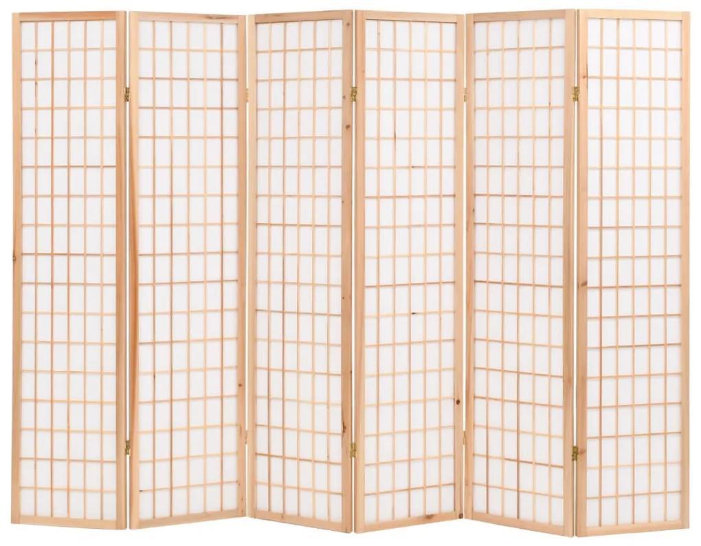 245904 vidaXL Paravan pliabil 6 panouri, stil japonez, 240x170 cm, Natural