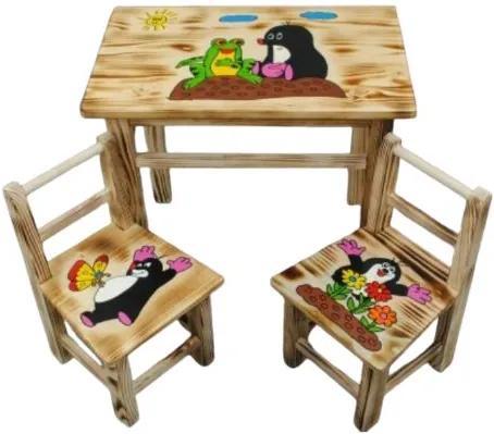 Masă din lemn pentru copii cu model Cârtiță + 2 scaune