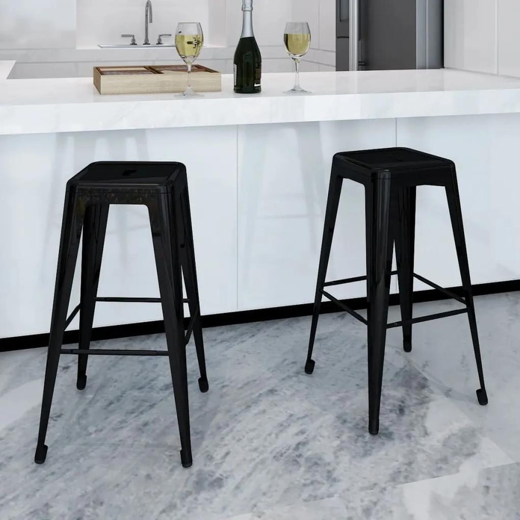 240926 vidaXL Scaune de bar, 2 buc., negru, oțel