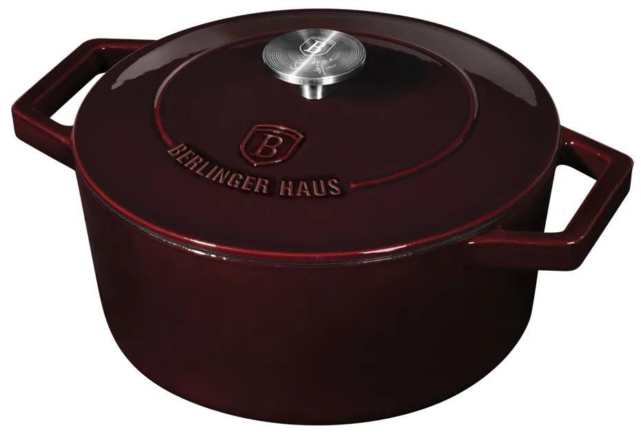 Oala fonta 24 cm cu capac Burgundy Berlinger Haus BH 6497