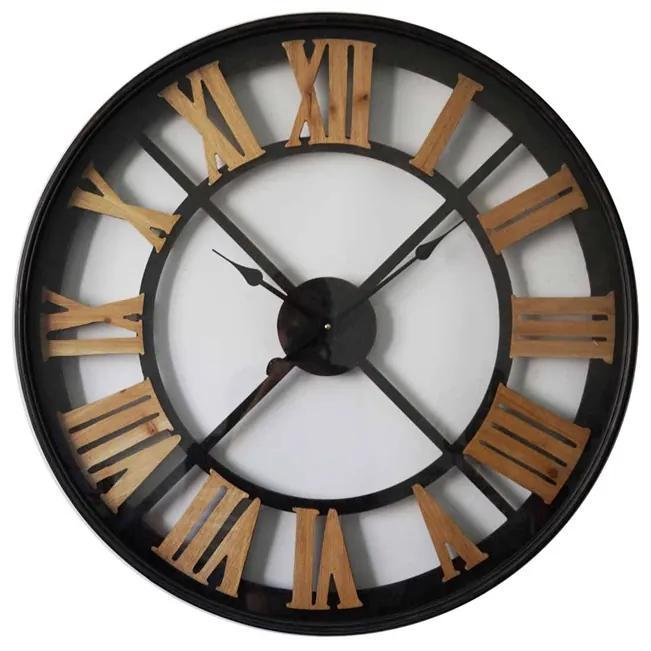 Ceas metal si lemn 80 cm