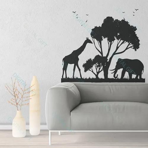 Sticker pentru perete - Animale africane 100x100 cm