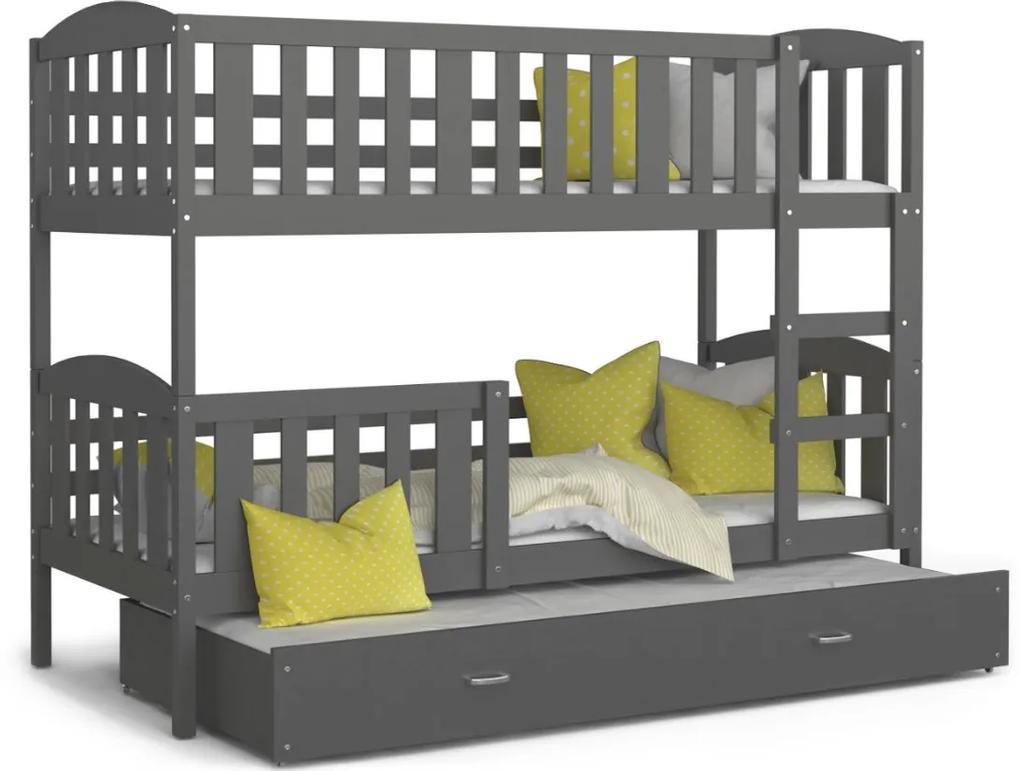 Expedo Pat supraetajat copii cu pat suplimentar KUBA 3 COLOR + saltea + somieră GRATIS, 190x80, gri/gri