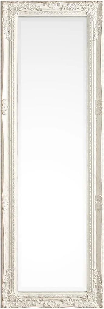Oglinda decorativa perete cu rama polirasina alba patinata Miro 42 cm x 3 cm x 132 h