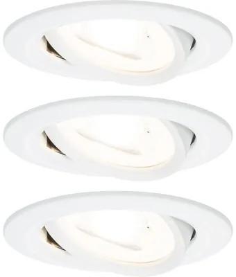 Spoturi incastrabile mobile Nova GU10 6,5W Ø84 mm, becuri LED incluse, alb mat, 3 bucati