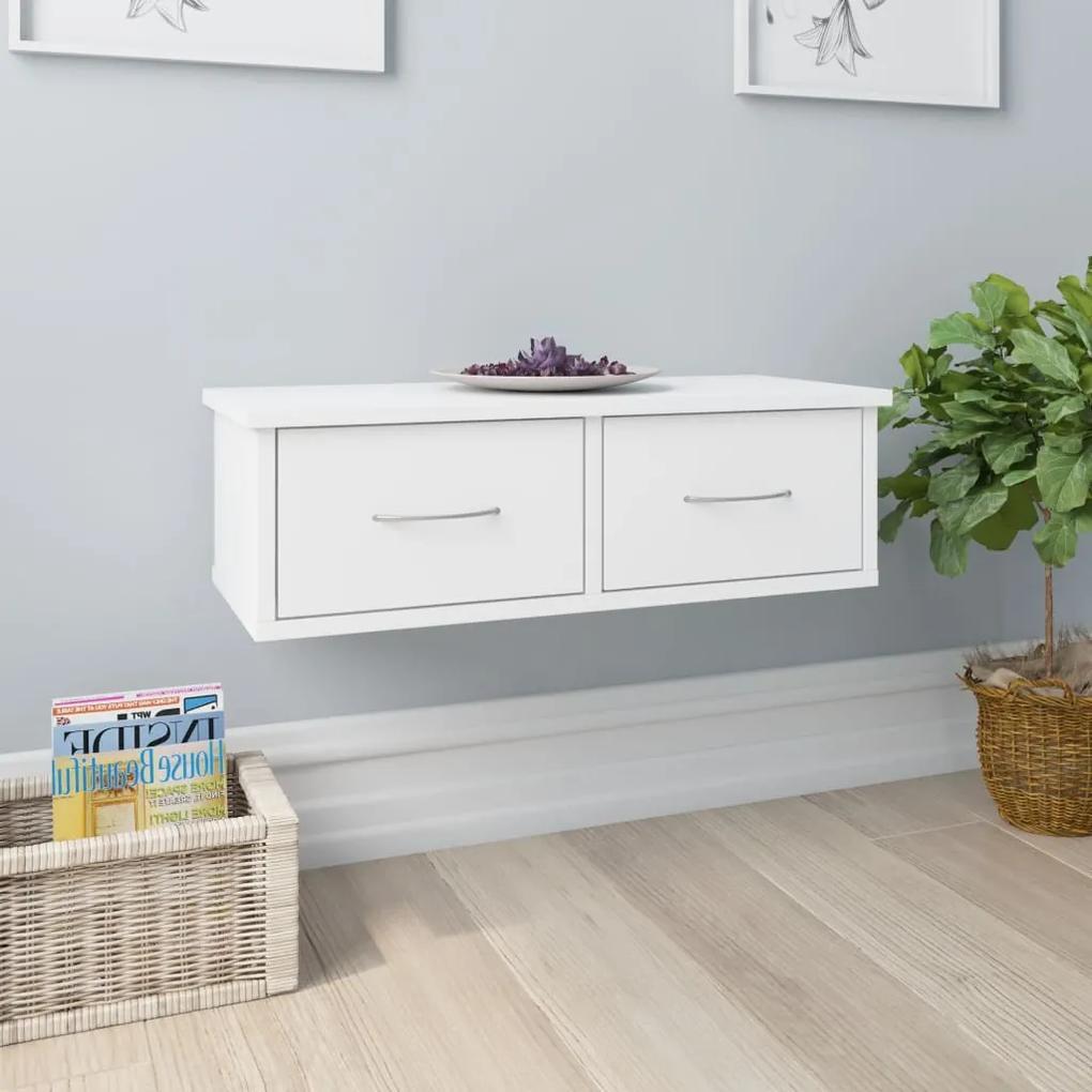 800585 vidaXL Raft de perete cu sertar, alb, 60x26x18,5 cm, PAL