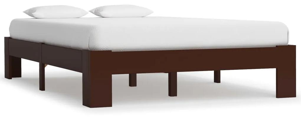 283300 vidaXL Cadru de pat, maro închis, 120 x 200 cm, lemn masiv de pin
