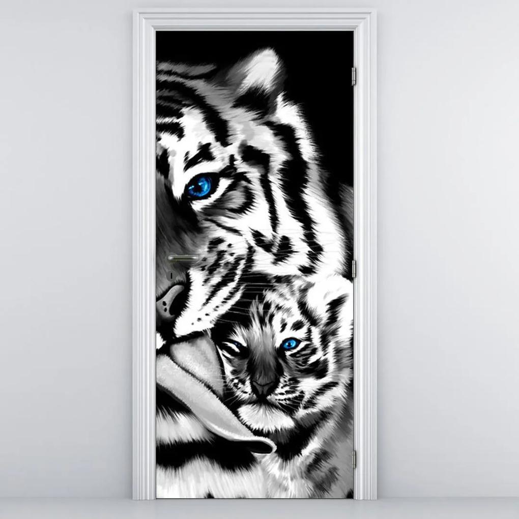 Fototapeta pentru ușă - tigrii (95x205cm)