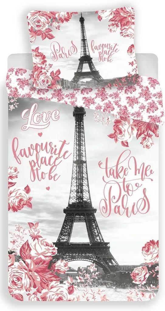 Lenjerie de pat Jerry Fabrics Paris roses, din bumbac, 140 x 200 cm, 70 x 90 cm