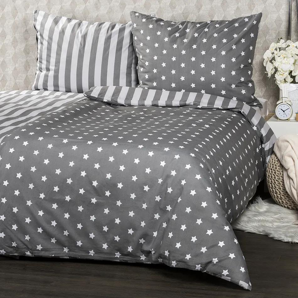 Lenjerie de pat 4Home din bumbac Stars gri, pentru 2 persoane, 220 x  200 cm, 2x 70 x 90 cm, 220 x 200 cm, 2 buc. 70 x 90 cm