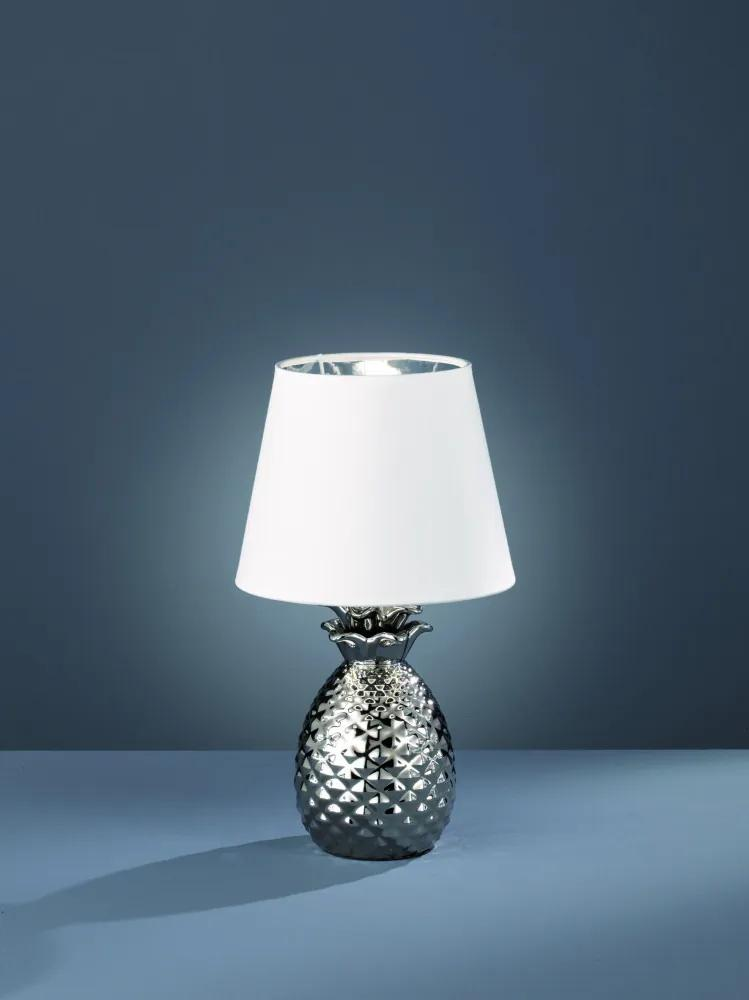Trio PINEAPPLE R50421089 Lampa de masa de noapte argintiu ceramică excl. 1 x E14, max. 40W IP20