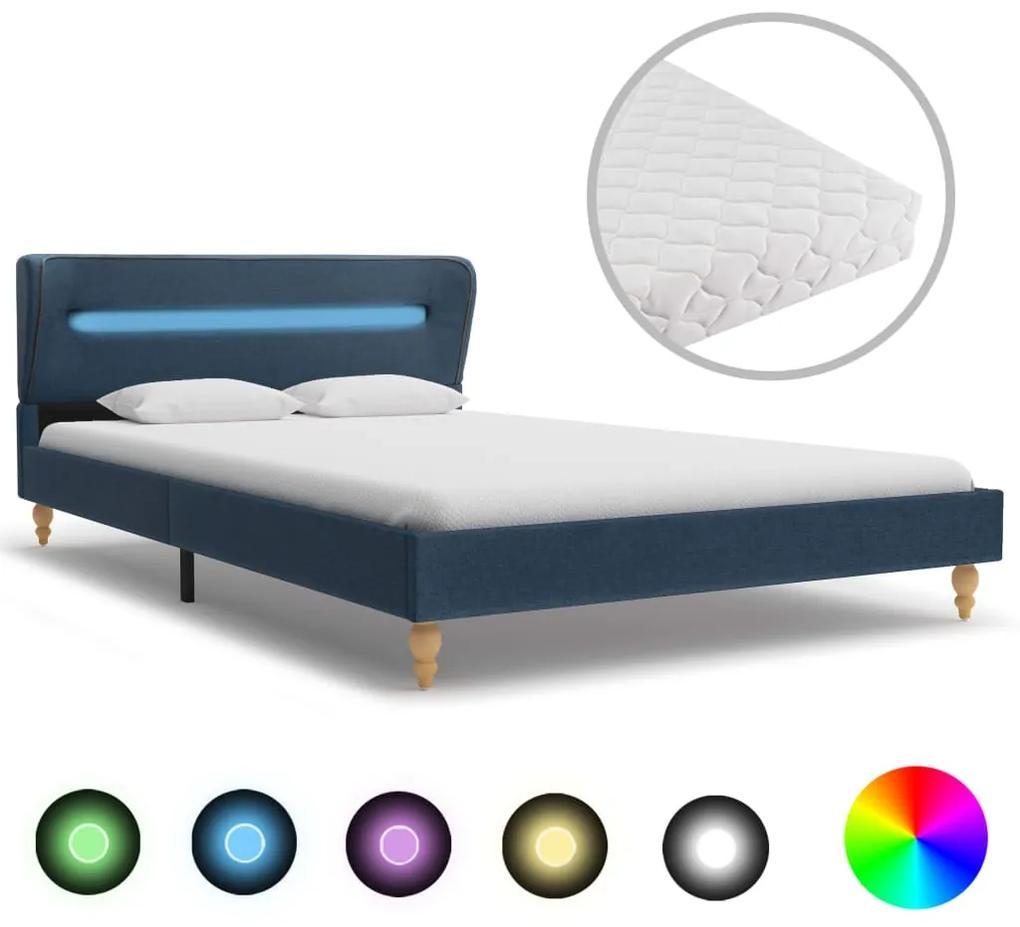 278367 vidaXL Pat cu LED și saltea, albastru, 140 x 200 cm, material textil