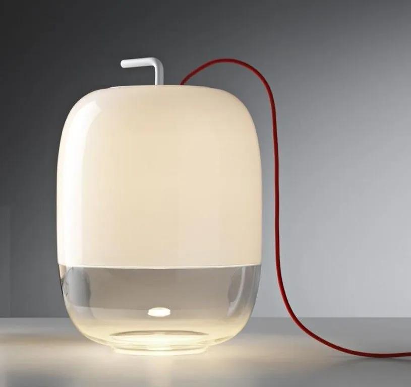 Gong T3 - Lampă de masă albă din sticlă