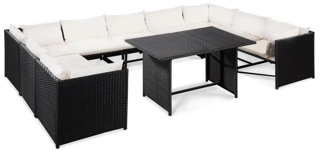 44193 vidaXL Set mobilier de grădină cu perne, 10 piese, negru, poliratan