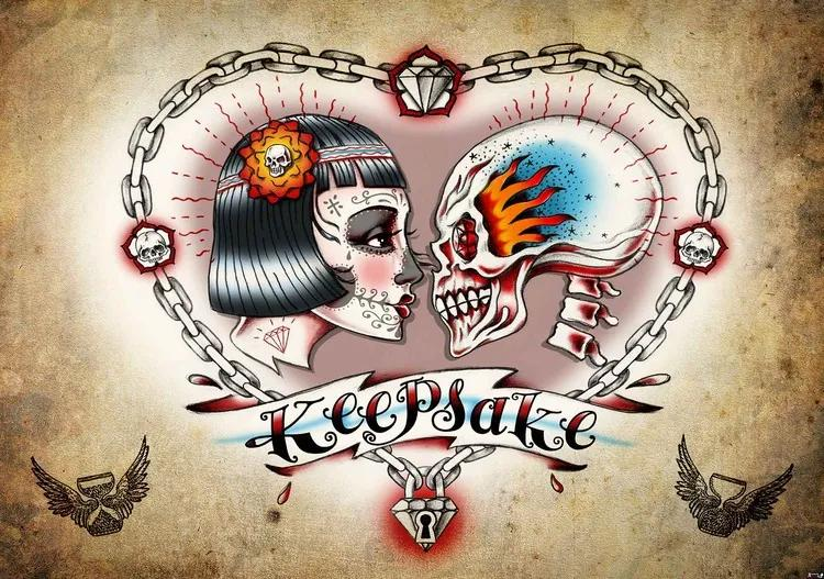Skull Heart Tattoo Fototapet, (416 x 254 cm)