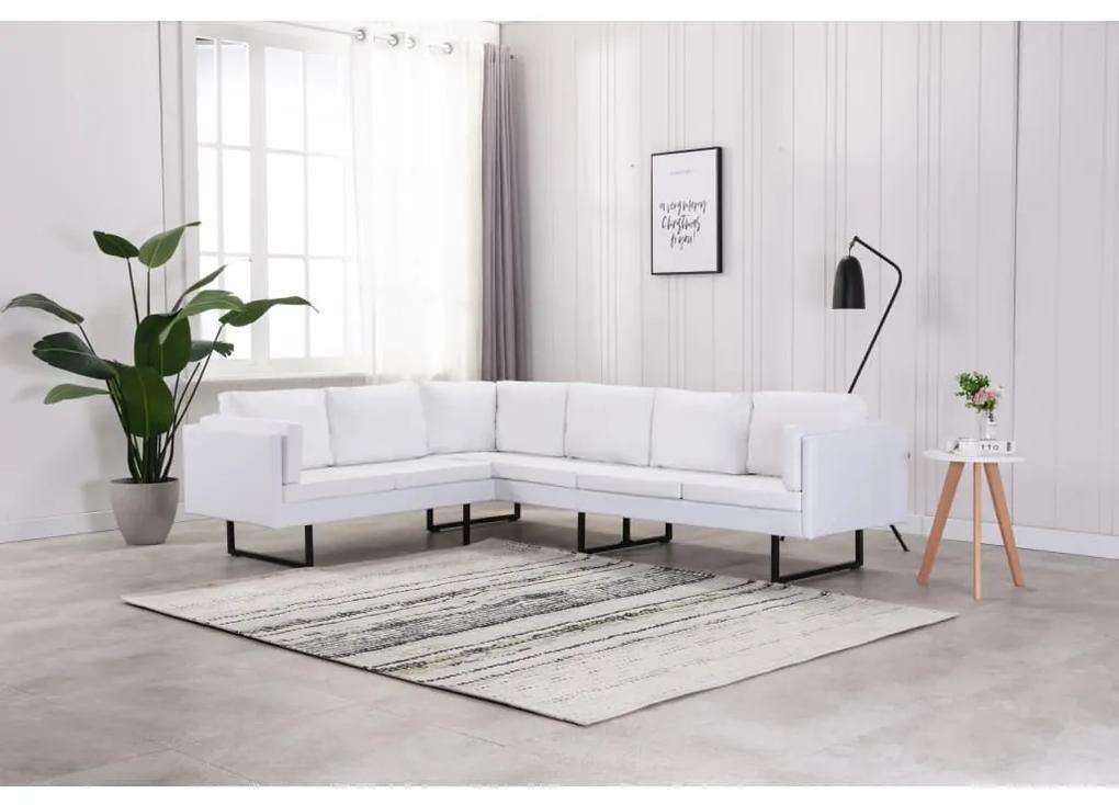 288171 vidaXL Canapea de colț, alb, piele artificială