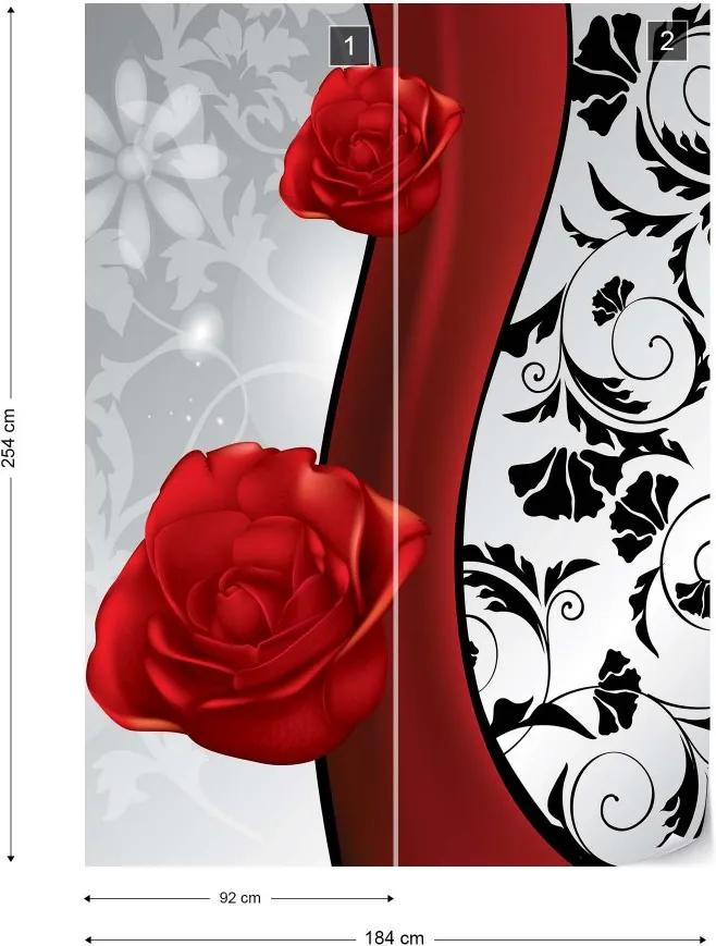Fototapet GLIX - Red Roses Floral  + adeziv GRATUIT Papírová tapeta  - 184x254 cm