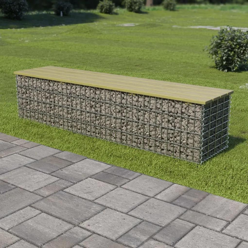 275900 vidaXL Bancă gabion, 170 cm, oțel galvanizat și lemn pin