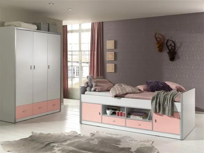 Set Mobila dormitor din pal, pentru copii 2 piese Bonny Capitan Alb / Roz, 200 x 90 cm