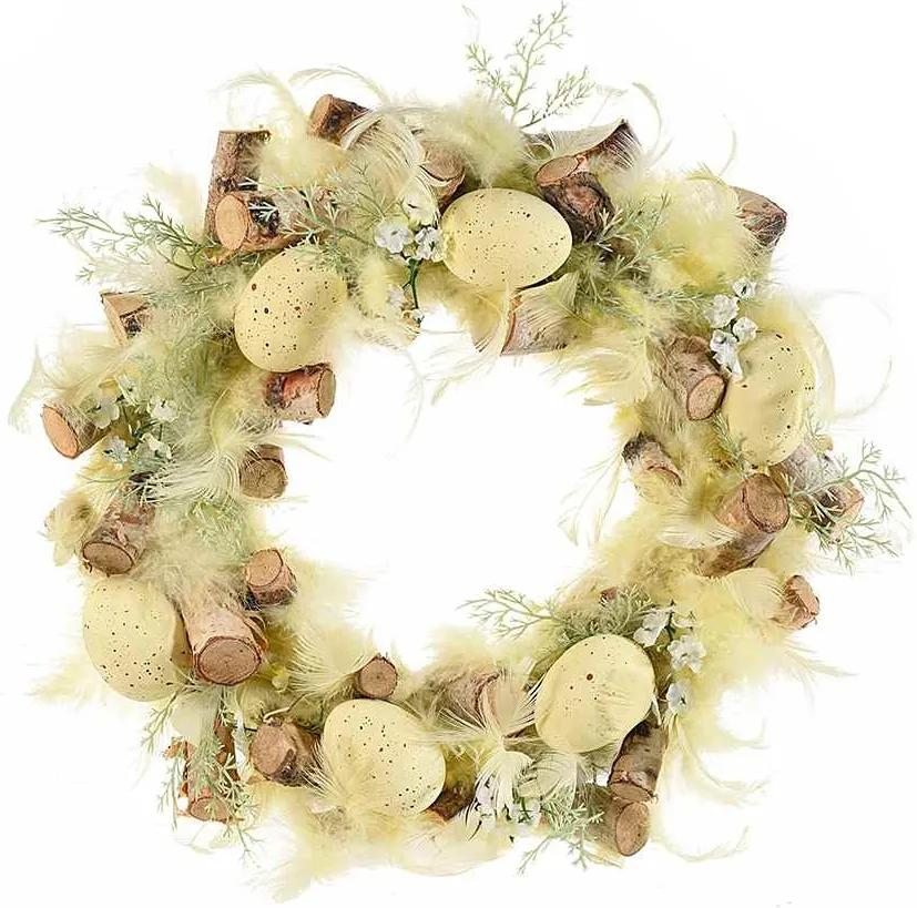 Coronita Paste din lemn decorata cu pene naturale si oua galbene Ø 30 cm
