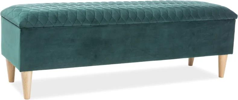 Banca tapitata cu stofa Azurro Green 129x40x45 cm