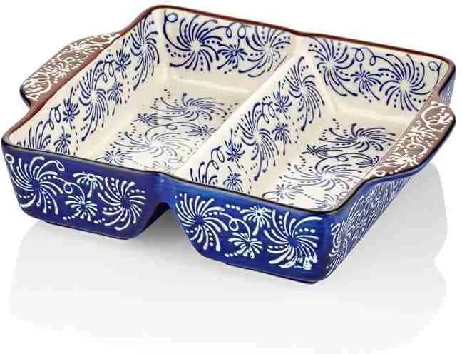Vase cu 2 compartimente pentru copt albastru 23x19 cm