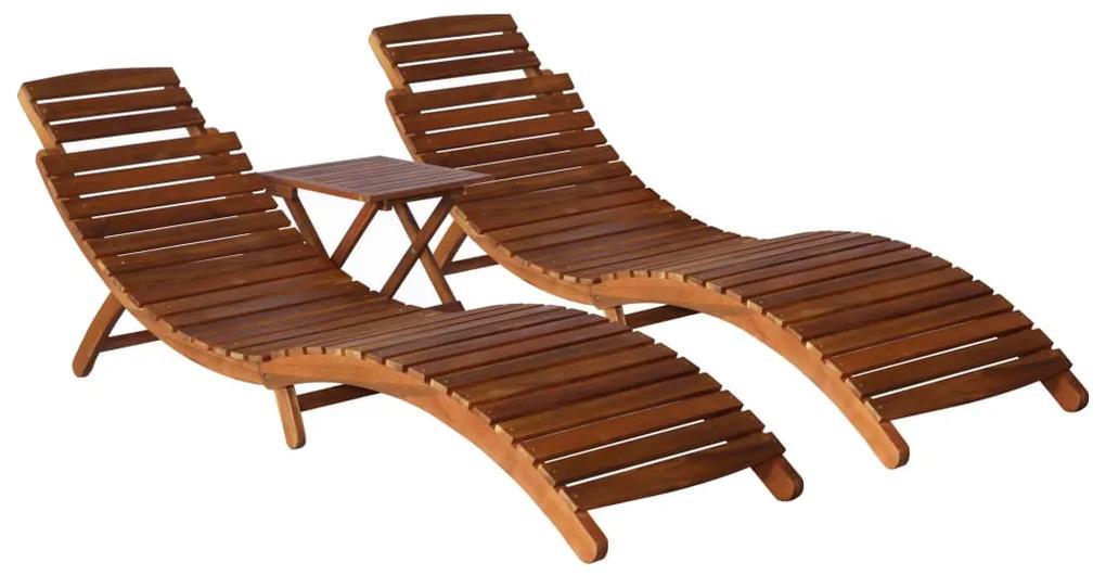 279160 vidaXL Șezlong cu măsuță de ceai, 3 piese, lemn masiv de acacia