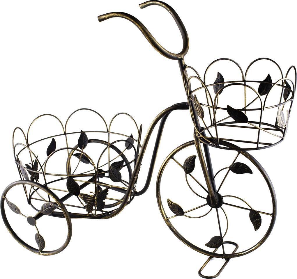 Suport flori bicicleta Leaves patina aurie 53 cm x 43 cm