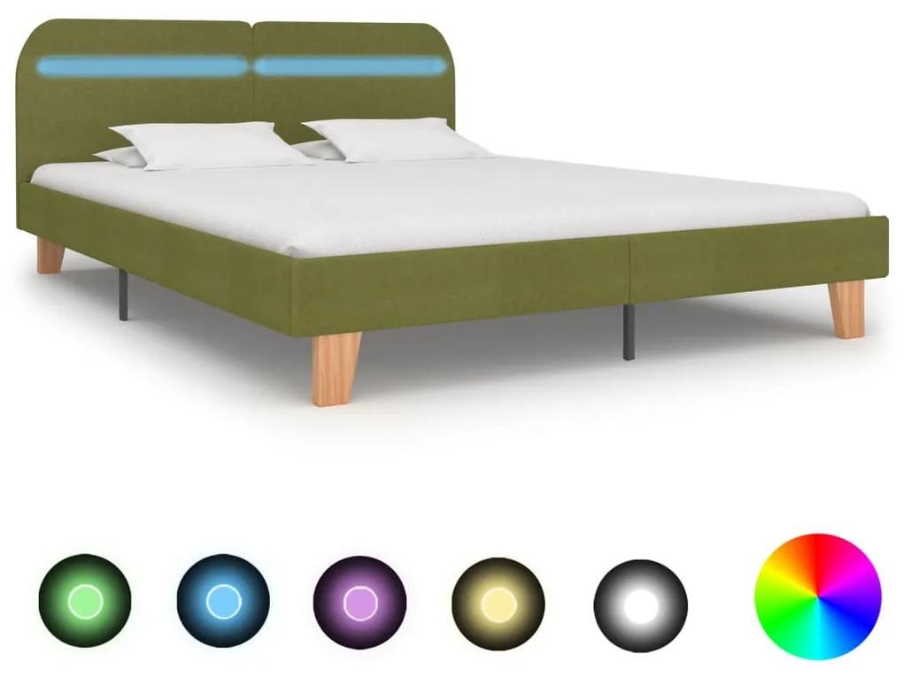 280909 vidaXL Cadru de pat cu LED-uri, verde, 160 x 200 cm, material textil