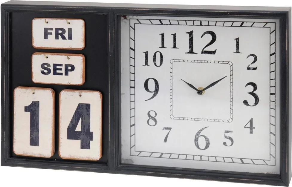 Ceas de perete cu calendar, Home Styling Collection, Negru/Alb