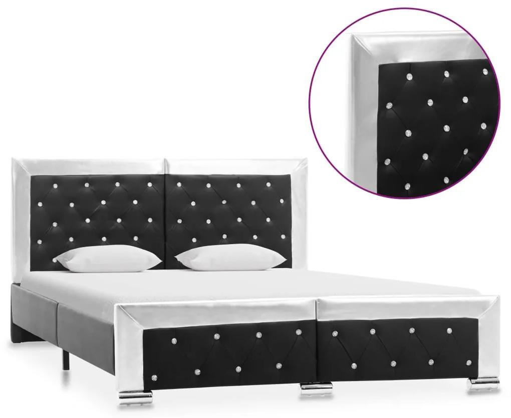 286796 vidaXL Cadru de pat, negru, 140 x 200 cm, piele ecologică